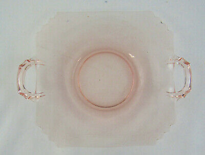 Vintage Pink Depression Glass Small Square Shaped Dish With Handles