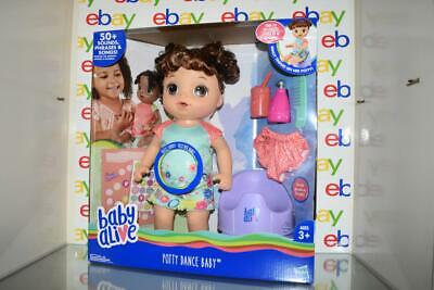Baby Alive Potty Dance Talking Baby Doll Brown Curly Hair Caucasian NWT