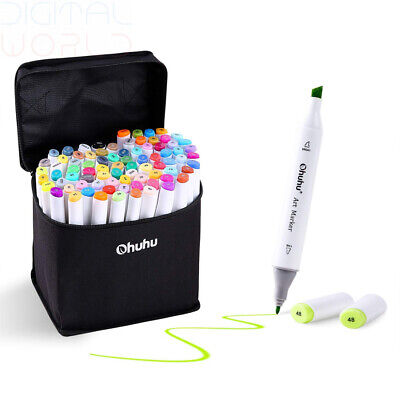 Ohuhu 60 Colours Dual Tips Permanent Marker Pens Art Markers for 60 colors