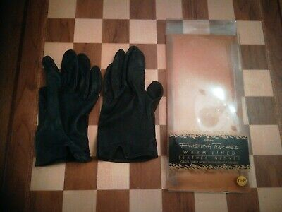 Vintage 1980s St Michael Black Ladies Leather Gloves size Large + Packaging