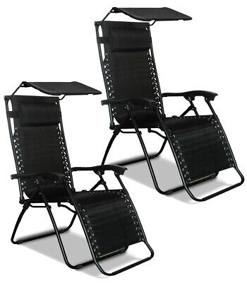 Reclining Lounger 2x Textoline Zero Gravity Chair with Canopy Sun Shade & Pillow