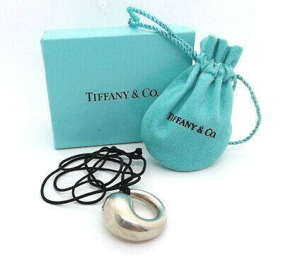 Tiffany & Co Elsa Peretti Sterling Silver Eternal Circle Pendant Cord Necklace