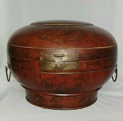 "Antique/Vintage Chinese 14"" Round Wooden Box w/ Hinged Lid Hand Painted 14""×10"""