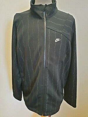 F309 Mens Nike Black Grey Striped Full Zip Tracksuit Jacket Uk L/Xl Eu 52-54