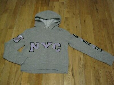 Girl's Grey, Cropped NYC Hoody by H&M Age 8-10 Years