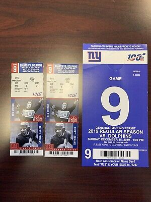 NY Giants vs Miami Dolphins Two Tickets + Parking Pass MetLife Stadium 12/15/19