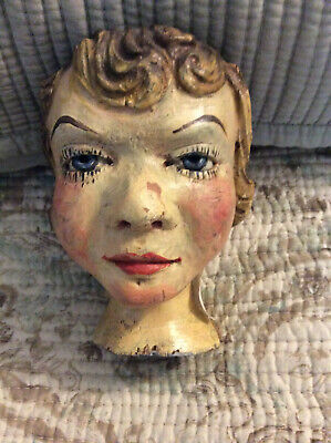 Vintage Carved Wood Doll Head - Marked 'Ron Kron's 3-D Hollywood?'