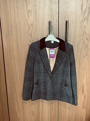 Girls Brown Check Jacket Age 9-10yrs BNWT