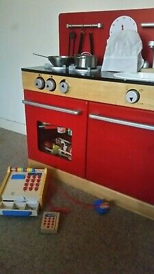 Wooden toy Kitchen  (John Lewis) with LOADS of extras. See description.