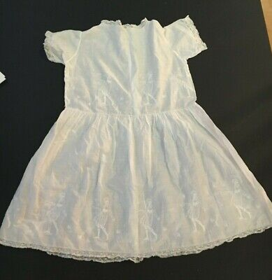 Antique child's tennis dress fine cotton embroidery RARE vgc beautiful doll