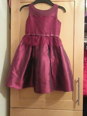 NEXT GIRLS AGE 6 YEARS WINE COLOUR LACE PARTY DRESS christmas