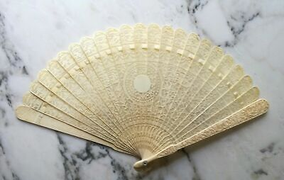 Antique chinese hand carved export cantonese brise fan early 19th