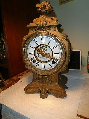 Antique-Ansonia-Statue Clock Movement & Tower-Ca.1890-To Restore-#K97Y