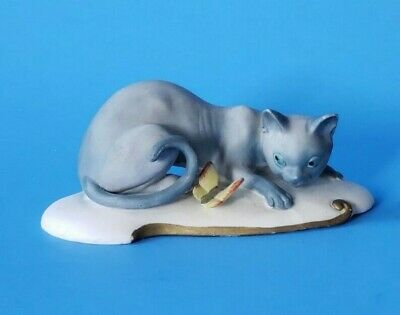 Vintage Ardco Hand Painted Porcelain Bisque Siamese Cat with Butterfly Figurine1