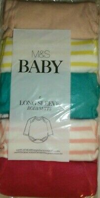New 5 Pack Baby Girls Newborn Long Sleeved Bodysuits Marks And Spencer Cotton