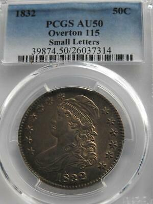 1832 50c Capped Bust Half Dollar PCGS AU50 OVERTON 115 Small Letters