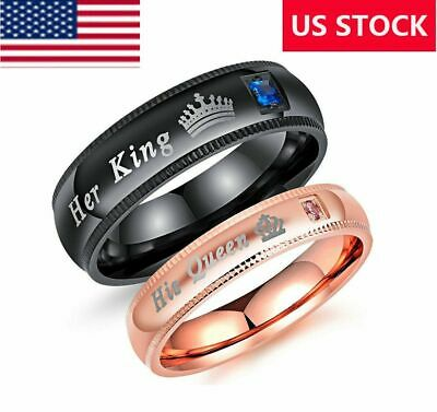 Couple's Matching Ring His Queen and Her King Wedding Band Comfort Fit Ring Gift