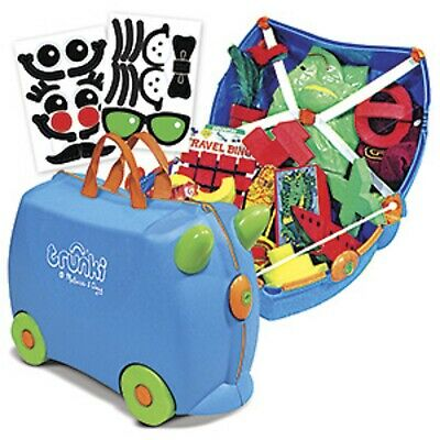 """Melissa & Doug """"Trunki"""" Blue And Green Ride-On Suitcase Kid's Luggage w stickers"""