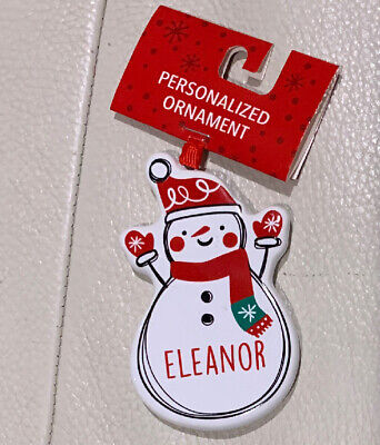 """JACK Personalized Name Holiday Ornament Snowman Xmas Target Ganz 3.5/"""" Ceramic"""