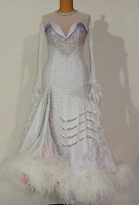 B8155 feather ballroom Waltz Tango standard dance dress UK 8 US 6 white