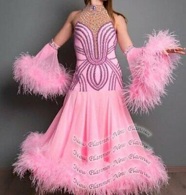 B8238 feather  ballroom Waltz Tango standard dance dress UK 8 US 6 pink