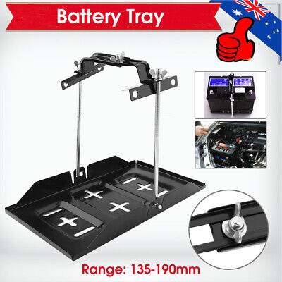 CAR BATTERY TRAY HOLD DOWN KIT DUAL DEEP CYCLE UNIVERSAL 135mm-190mm Width AU #