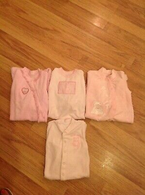 M And S Baby Girls Vintage Sleepsuit/baby grow/outfit Bundle Age 3-6 Months