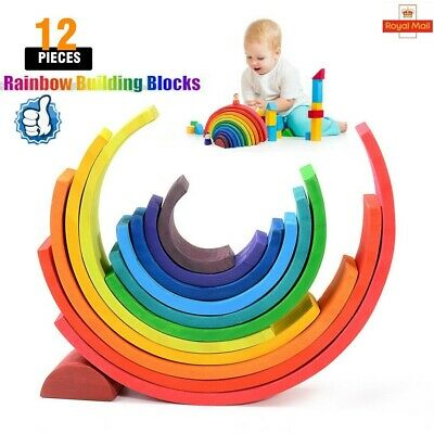 12X Wooden Rainbow Building Stacking Blocks Baby Toddler Montessori Toy Gifts UK