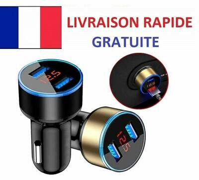 Chargeur voiture allume cigare usb double universel smartphone led digitale 3.1A