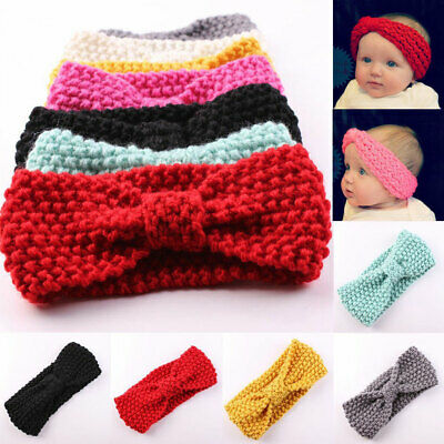 Uk Baby Kids Girl's Cute Warm Winter Hair Band Bow Crochet Knitted Headband