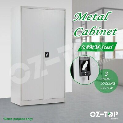 1.8m Steel Storage Cabinet Metal 2 Doors Office Garage Locker Cabinet Grey White