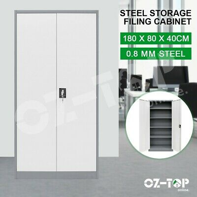 1.8m Steel Storage Cabinet 2 Doors Office Garage Locker Cabinet  Dark Grey&White