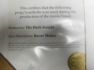 1-Dark knight screen used burnt money Heath Ledger Batman movie prop bill Joker