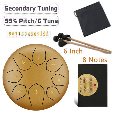 6'' Steel Tongue Drum G Tune 8 Notes Handpan Hand Tankdrum Mallets Yoga + Bag