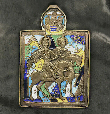 "ANTIQUE RUSSIAN BRONZE ENAMEL ICON  ""St.Boris and St.Gleb"""