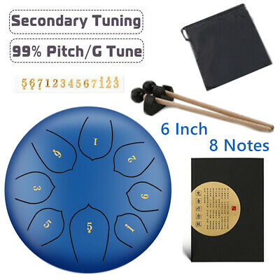 6'' Blue Steel Tongue Drum G Tune 8 Notes Handpan Hand Tankdrum Yoga + Bag Gifts
