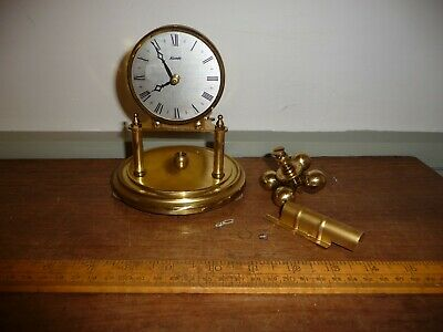 Vintage Brass Kundo Dome Clock for parts / repair . No Dome . Good Pendulum