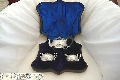 Rare Cased Victorian Hm Sterling Silver 3 Piece Tea Set 1878