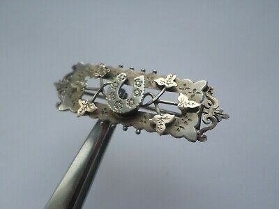 Antique Victorian or Edwardian hallmarked sterling silver horsehoe brooch