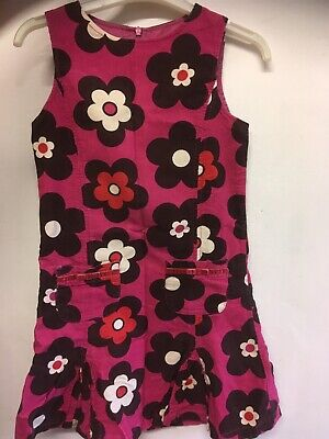 Girls Mini Boden Winter Pinafore Dress Age 9-10 Years Corduroy Floral