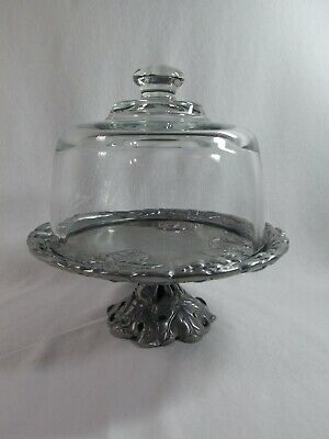 Arthur Court Grapes with Leaves Small 8 inch Pedastal Cake Plate & Glass dome