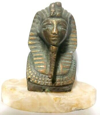 Sphinx Figurine Egyptian Statue Ancient Sculpture Pharaoh Bronze Head On Marble