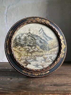 Antique French Framed Tapestry. Mountain Scene. Late 19thC - 1900