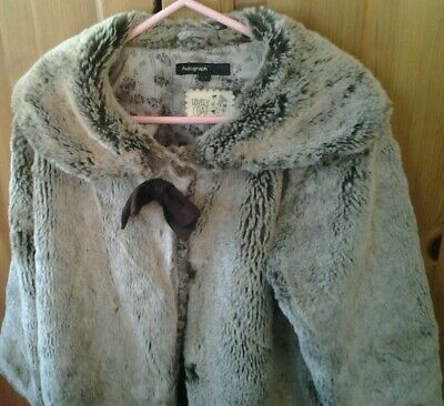 Girls M&S Autograph Fake Fur Coat Age 6-7 years