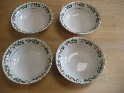 """4 Gibson HOLIDAY GOLD Holly Berry Soup/Cereal Bowls 6 3/8"""""""
