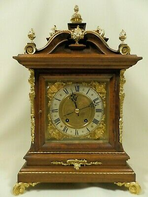 Antique German Wooden And Bronze Ornate Tablel Clock Lenzkirch Ca 1899