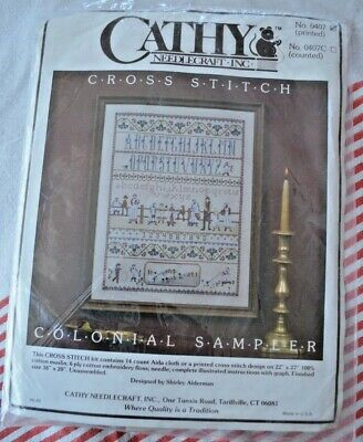 Cathy Needlecraft Inc Cross Stitch Kit Printed Colonial Sampler 0407 Complete