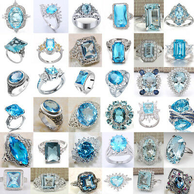 Women 925 Silver Aquamarine Rings Flower Drop Rings Wedding Jewelry Size#6-10