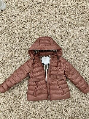 BURBERRY Girls Down Puffer Coat Jacket Raspberry Red  SIZE 7