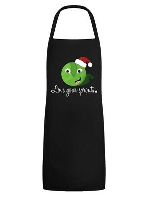 Christmas Apron Sprouts Black
